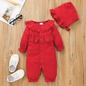 2pcs Baby Cotton Long-sleeve Lace Ruffle Solid Snap-up Jumpsuit Set