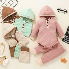 2-piece Baby Girl/Boy Button Design Hooded Long-sleeve Romper and Pants Set