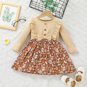 Toddler Girl Ruffled Ribbed Bowknot Button Design Floral Print Splice Long-sleeve Dress