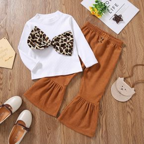 2-piece Toddler Girl Leopard Print Bowknot Design Ribbed Long-sleeve Top and Flared Pants Set