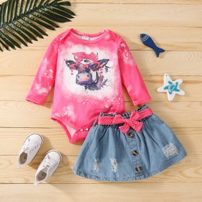 2pcs Baby Tie Dye Long-sleeve Romper and Belted Ripped Denim Skirt Set