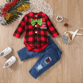 Christmas 2pcs Baby Red Long-sleeve Bow Tie Plaid Romper and Ripped Denim Jeans Set