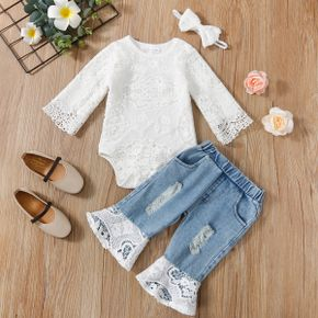 3pcs Baby Solid Long-sleeve Lace Romper and Bell Bottom Ripped Denim Jeans Set