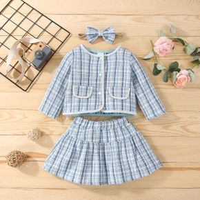 3pcs Baby All Over Plaid Long-sleeve Cardigan and Mini Skirt Set