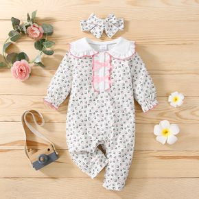 2pcs Baby All Over Floral Print Doll Collar Bowknot Long-sleeve Jumpsuit Set