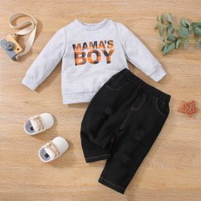 2pcs Baby Letter Print Solid Long-sleeve Sweatshirt and Ripped Denim Jeans Set