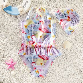 Toddler Girl Adorable Flamingo Print Ruffled One-piece Swimsuit