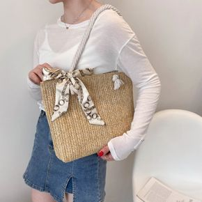 Large capacity All-match Twilly Scarf Decor Straw Tote Bag