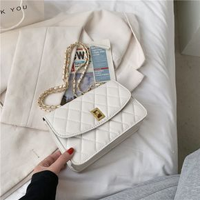Women Pure Color Geometry Lingge Quilted Metal Chain Strap Crossbody Shoulder Bag