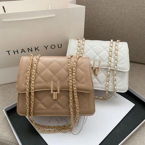 Women Pure Color Geometry Lingge Quilted Flap Zipper Crossbody Shoulder Bag with Chain Strap