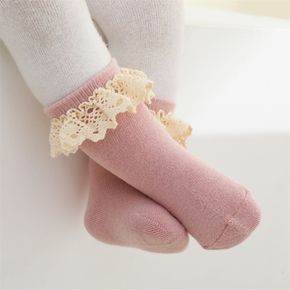 Baby / Toddler Lace Trim Solid Color Terry Socks