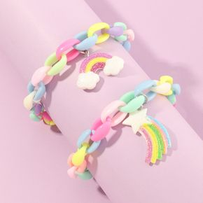 2-pack Rainbow Pendant Colorful Necklace for Girls