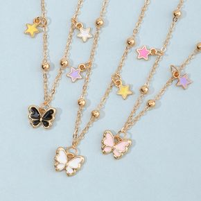 3-pack Butterfly and Star Pendant Golden Necklace for Girls