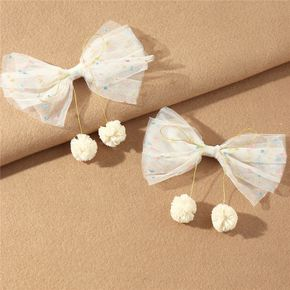 2-pack Colorful Polka Dots Net Yarn Bow Hair Clip with Double Ball for Girls