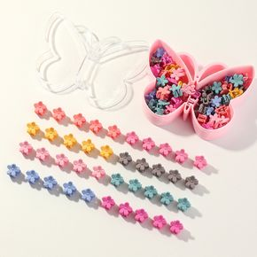 40-pack Candy Color Flower Hair Claw Hair Accessories for Girls (With Box, Random Pattern)