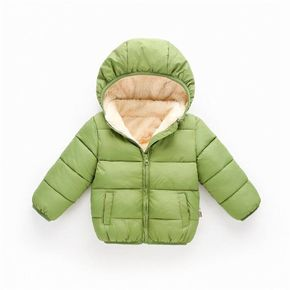 Baby / Toddler Causal Fluff Solid Long-sleeve Hooded Coat