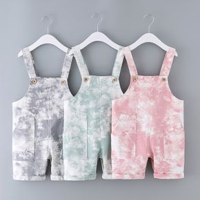 Toddler Girl/Boy Button Design Tie Dye Overalls with Pocket