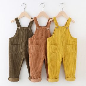 Toddler Girl/Boy Button Design Solid Corduroy Overalls with Pocket