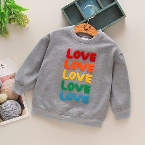 Toddler Girl/Boy 100% Cotton Letter Embroidered Casual Pullover Sweatshirt