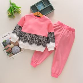 2-piece Toddler Girl Lace Design Colorblock Pullover and Pink Pants Set