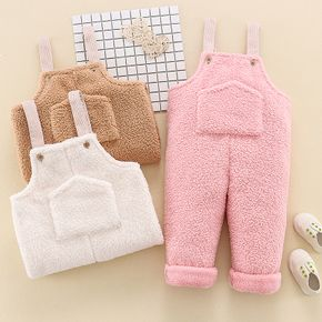 Toddler Girl/Boy Solid Pocket Fuzzy Overalls