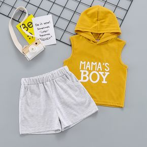 2-piece Toddler Boy Letter Print Sleeve Hoodie and Solid Shorts Set