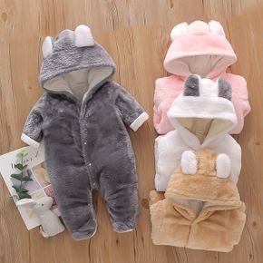 Solid Hooded 3D Bear Design Long-sleeve Baby Jumpsuit
