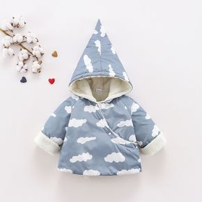 Baby All Over Cloud Print Grey Long-sleeve Hooded Thickened Fleece Lined Outwear
