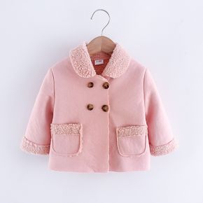 Baby Pink Imitation Suede Thickened Fleece Lined Lapel Long-sleeve Outwear Jacket