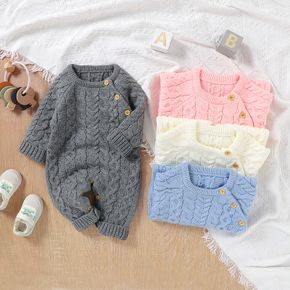 Solid Knitted Long-sleeve Baby Jumpsuit