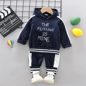 2pcs Baby Letter Embroidered Color Block Fleece Long-sleeve Hoodie and Trousers Set