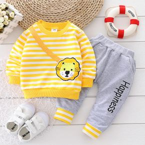 2-piece Baby Boy Stripe Animal Lion Embroidered Sweatshirt and Letter Print Pants Set