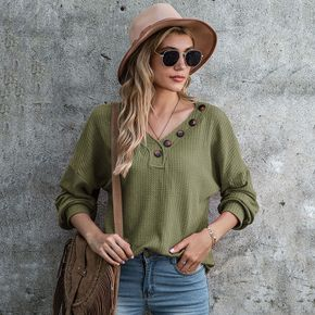 Women's Solid Color Chunky Button Pullover Sweater Knit Sweater