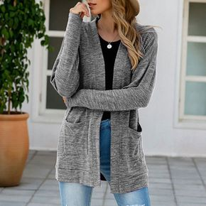 Women's Casual Grey Open Front Knit Cardigans Long Sleeve Plush Sweater Coat with Pockets