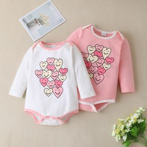 Heart and Smile Print Long-sleeve Baby Romper
