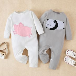Cartoon Animal Embroidered Long-sleeve Baby Cotton Jumpsuit