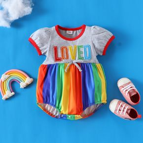 Letter and Rainbow Multicolor Stripe Short-sleeve Baby Romper