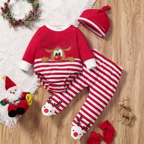 Christmas Cotton 3pcs Reindeer Pattern Red Baby Long-sleeve Striped Romper and Footed Pants Set