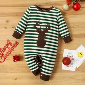 Christmas Reindeer Pattern Baby Striped Long-sleeve Cotton Jumpsuit