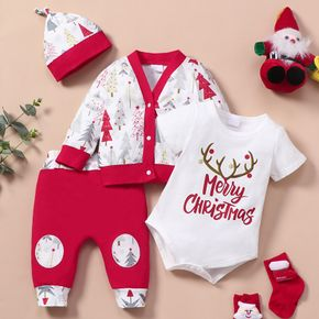 Christmas 4pcs  Red Print Long-sleeve Cardigan and Romper with Trousers Set