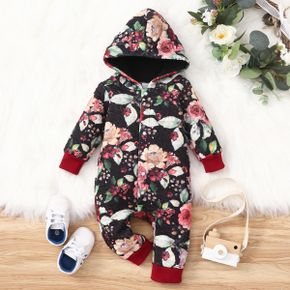 All Over Floral Print Black Long-sleeve Hooded Baby Thickened Fleece Lined Jumpsuit