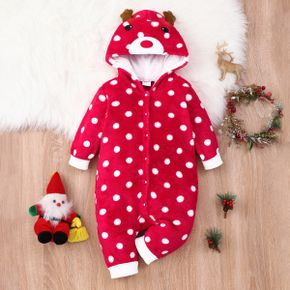 Baby Girl Christmas Deer Embroidered Antlers Design Polka dots Hooded Fuzzy Jumpsuit
