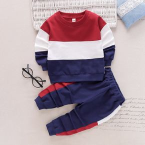 2-piece Toddler Boy/Girl Colorblock Pullover and Pants Casual Set