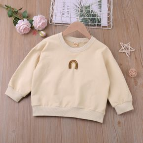 Toddler Girl Rainbow Embroidery Casual Beige Pullover Sweatshirt