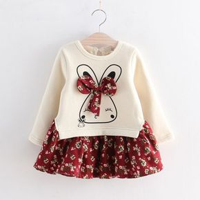 Cartoon Rabbit and Floral Print Bowknot Long-sleeve Faux-two Baby Cotton Dress