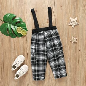 Toddler Girl 100% Cotton Black Plaid with Pocket