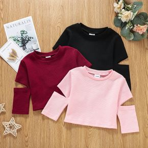 Toddler Girl Ribbed Cutout Long-sleeve Solid Top