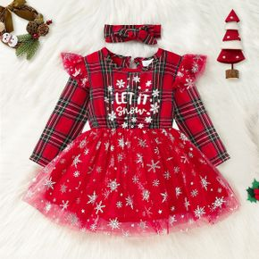 Christmas 2pcs Baby Letter Print Red Plaid Splicing Glitter Snowflake Mesh Party Dress Set