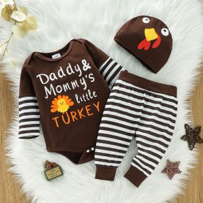 Thanksgiving Day 100% Cotton 3pcs Baby Cartoon Turkey and Letter Print Brown Long-sleeve Romper and Striped Trousers Set