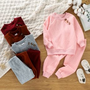 2-piece Toddler Girl Button Design Cable Knit Textured Sweatshirt and Pants Set